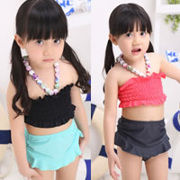Nylon Girl Kids Two-piece Swimsuit with swimming cap Solid 5Sets/Lot Sold By Lot