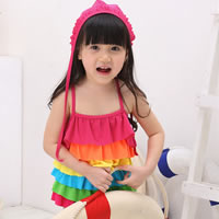 Spandex Girl Kids One-piece Swimsuit with swimming cap striped multi-colored 5Sets/Lot