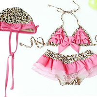 Nylon Girl Kids One-piece Swimsuit with swimming cap leopard pink 5Sets/Lot