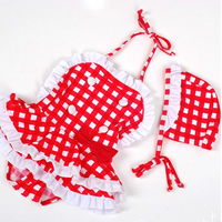 Nylon   Polyester Girl Kids One-piece Swimsuit with swimming cap plaid red 5PCs/Lot