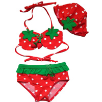 Nylon Boy Kids Two-piece Swimsuit with swimming cap with Nylon fruit pattern red 5Sets/Lot Sold By Lot