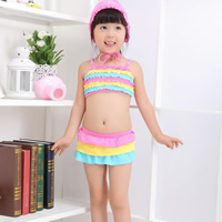Nylon Girl Kids Two-piece Swimsuit with swimming cap striped multi-colored 5Sets/Lot Sold By Lot