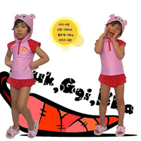 Polyester Girl Kids Two-piece Swimsuit with swimming cap Cartoon pink 15PCs/Lot Sold By Lot