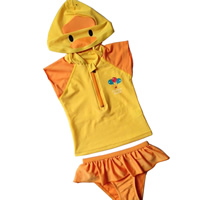 Polyester Girl Kids Two-piece Swimsuit regular Cartoon yellow 5PC/Lot Sold By Lot