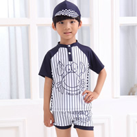 Nylon Boy Kids One-piece Swimsuit with swimming cap Cartoon white 5Sets/Lot Sold By Lot