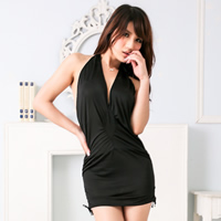 Spandex Halter Dress backless   off shoulder   skinny style skirt   thong Solid Size:Free Size 10PCs/Lot