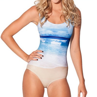 Polyester One-piece Swimsuit, breathable, geometric, blue, Size:Free Size, Sold By PC