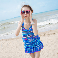 3/4 cup Nylon Tankinis Set three piece   breathable   skinny style striped
