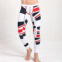 Nap-undeniable Velvet   Combed Cotton Men Thermal Long Johns skinny   breathable printed geometric white 6PCs/Lot