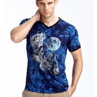Modal   Spandex Men Short Sleeve T-Shirt regular   breathable tie-dye animal prints 3PCs/Lot