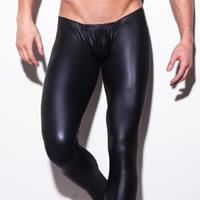 PU Leather Men Abdomen Drawing Capri Pants skinny Solid black Sold By PC