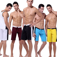 Spandex   Polyester Middle Waist Men Sports Pants loose   breathable Solid
