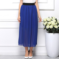 Chiffon & Polyester Skirt mid-calf with Satin Solid Size:Free Size Sold By PC