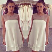 Chiffon   Polyester One-piece Dress above knee patchwork white