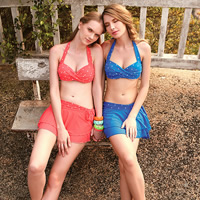 Polyester Tankinis Set two piece   breathable   padded dot Size:Free Size Sold By Set
