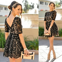 Lace   Polyester One-piece Dress backless hollow   above knee floral black