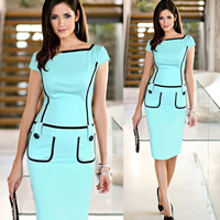 Polyester One-piece Dress above knee patchwork Sold By PC