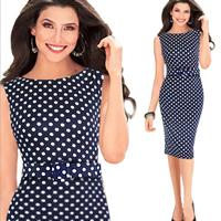 Spandex   Polyester   Cotton One-piece Dress above knee dot