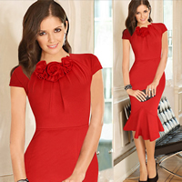Polyester   Cotton Asymmetrical One-piece Dress Solid Sold By PC