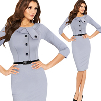 Spandex   Polyester   Cotton Women Business Dress Suit above knee Solid