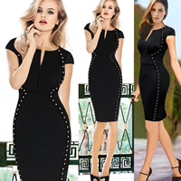 Polyester   Cotton One-piece Dress above knee Solid black