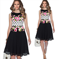 Spandex   Polyester Princess One-piece Dress with belt floral black Sold By PC
