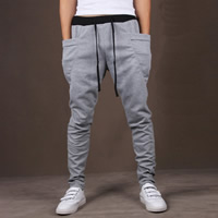Polyester   Cotton Middle Waist Men Sports Pants loose   breathable Solid Sold By PC