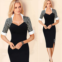 Polyester   Cotton One-piece Dress different styles for choice   above knee