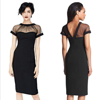 Spandex   Polyester   Cotton One-piece Dress above knee with Gauze Solid black