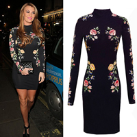 Polyester & Cotton One-piece Dress, different size for choice & above knee, floral, black, Sold By PC