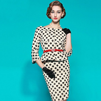 Polyester & Cotton One-piece Dress, different size for choice & with belt & above knee, dot, white, Sold By PC