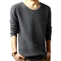 Woolen   Cotton Men Sweater loose   thermal   breathable Solid