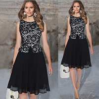 Polyester Ball Gown One-piece Dress with Lace floral black