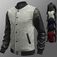 PU   Polyester   Cotton Men Coat patchwork