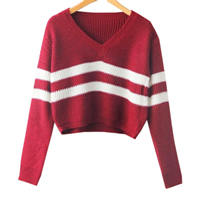 Cotton Women Sweater, loose, striped, more colors for choice, Size:Free Size, Sold By PC