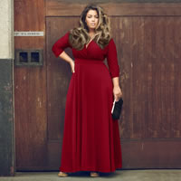 Polyester Plus Size Long Evening Dress Solid