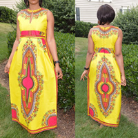 Polyester One-piece Dress geometric yellow