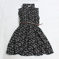 Rayon Pleated One-piece Dress with belt printed Cartoon black Sold By PC