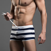Nylon Hip-hugger Swimming Trunks striped Sold By PC