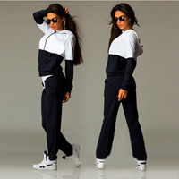 Polyester   Cotton Women Sportswear Set Pants   coat patchwork Sold By Set
