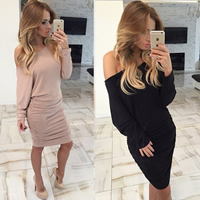 Cotton Sexy Package Hip Dresses, different size for choice & off shoulder, Solid, more colors for choice, Sold By PC