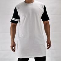 Cotton Men Short Sleeve T-Shirt patchwork white