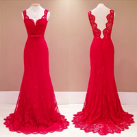 Polyester   Cotton Long Evening Dress backless off shoulder   floor-length with Lace patchwork red