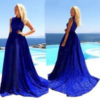 Lace   Spandex Long Evening Dress Solid blue