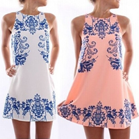 Polyester One-piece Dress printed floral