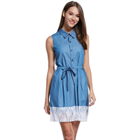 Lace & Polyester A-line One-piece Dress, different size for choice & hollow, patchwork, blue, Sold By PC
