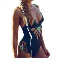 Spandex & Polyester Monokini, different size for choice & padded, geometric, black, Sold By PC
