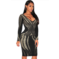 Spandex & Polyester Sexy Package Hip Dresses, different size for choice, printed, geometric, black, Sold By PC