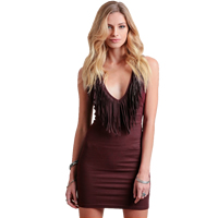 PU & Cotton Miracle Tassel One-piece Dress, different size for choice, Solid, wine red, Sold By PC