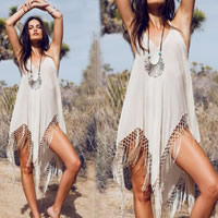 Cotton Miracle Tassel Beach Dress off shoulder patchwork white Sold By PC